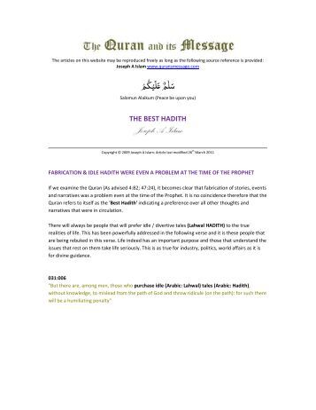 THE BEST HADITH - The Quran and its Message