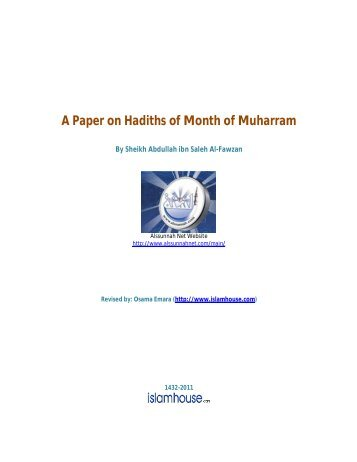 A Paper on Hadiths of Month of Muharram - Islam House