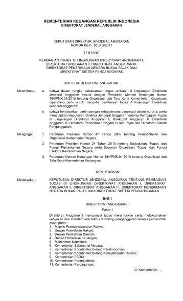 Keputusan Dirjen Anggaran Nomor No. 55 Tahun 2011 Tentang ...