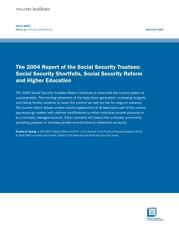 Social Security Shortfalls, Social Security Reform and Higher