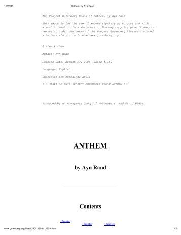 ayn rand's anthem a commentary about Anthem is a novella that indirectly introduces the author's life philosophy and demonstrates it in a short, straight-to-the-point story it describes a free spirit in a world of conformity.