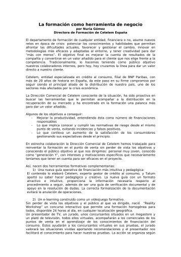 La formación como herramienta de negocio por Nuria Gómez ... - Gref