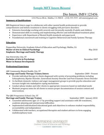 mft intern resume