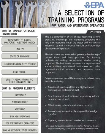 A Selection of Training Programs for Water and Wastewater Operators
