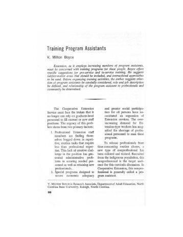 Training Program Assistants (pdf) - The Journal of Extension