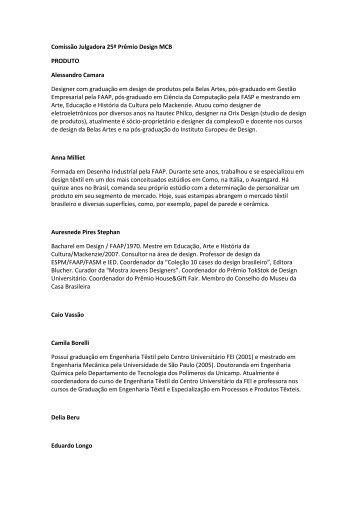 Veja os currículos do júri-PDF - Museu da Casa Brasileira