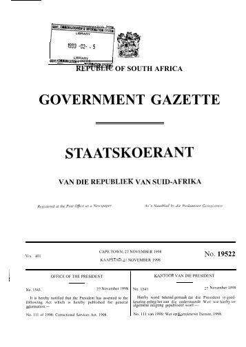 Correctional Services Act - South African Government Information