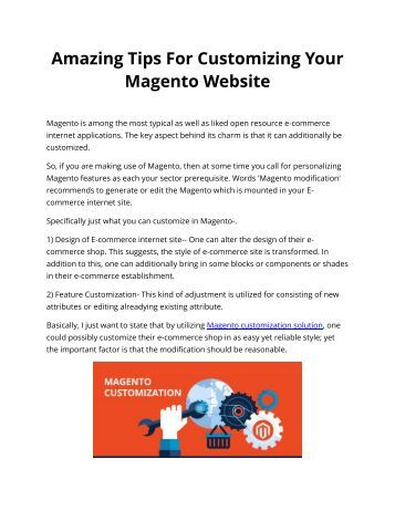 Amazing Tips For Customizing Your Magento Website