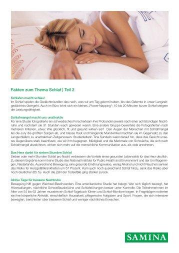 SAMINA Beitrag von Schlafpsychologe Dr. med. h.c. Günther W. Amann-Jennson - Fakten zum Thema Schlaf | Teil 2