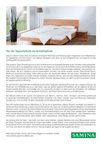 SAMINA Beitrag von Schlafpsychologe Dr. med. h.c. Günther W. Amann-Jennson - Von der Tagesrhythmik zur Schlafrhythmik
