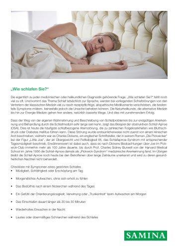 """SAMINA Beitrag von Schlafpsychologe Dr. med. h.c. Günther W. Amann-Jennson - """"Wie schlafen Sie?"""""""