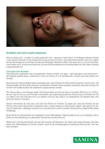 SAMINA Beitrag von Schlafpsychologe Dr. med. h.c. Günther W. Amann-Jennson - Schlafen mit Licht macht depressiv
