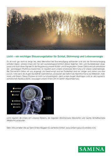 SAMINA Beitrag von Schlafpsychologe Dr. med. h.c. Günther W. Amann-Jennson - Licht – ein wichtiger Steuerungsfaktor für Schlaf, Stimmung und Lebensenergie