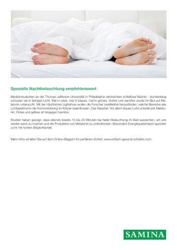 SAMINA Beitrag von Schlafpsychologe Dr. med. h.c. Günther W. Amann-Jennson - Spezielle Nachtbeleuchtung empfehlenswert