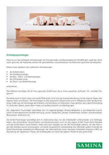 SAMINA Beitrag von Schlafpsychologe Dr. med. h.c. Günther W. Amann-Jennson - Schlafpsychologie