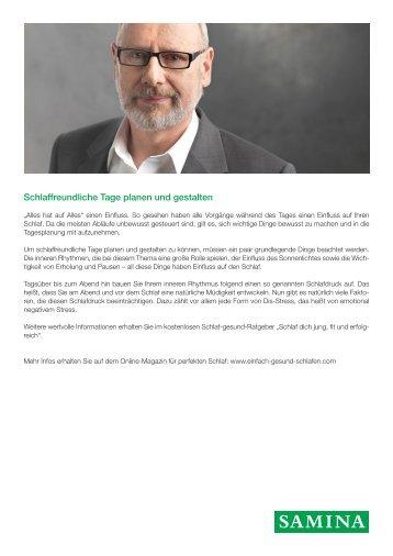 SAMINA Beitrag von Schlafpsychologe Dr. med. h.c. Günther W. Amann-Jennson - Schlaffreundliche Tage planen und gestalten