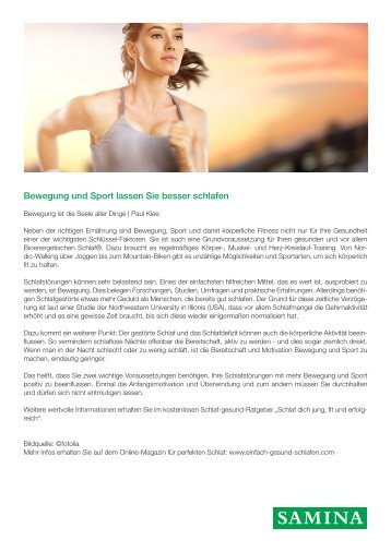 SAMINA Beitrag von Schlafpsychologe Dr. med. h.c. Günther W. Amann-Jennson - Bewegung und Sport lassen Sie besser schlafen