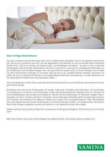 SAMINA Beitrag von Schlafpsychologe Dr. med. h.c. Günther W. Amann-Jennson - Das richtige Abendessen