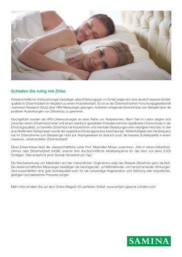SAMINA Beitrag von Schlafpsychologe Dr. med. h.c. Günther W. Amann-Jennson - Schlafen Sie ruhig mit Zirbe
