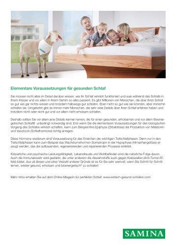 SAMINA Beitrag von Schlafpsychologe Dr. med. h.c. Günther W. Amann-Jennson - Elementare Voraussetzungen für gesunden Schlaf