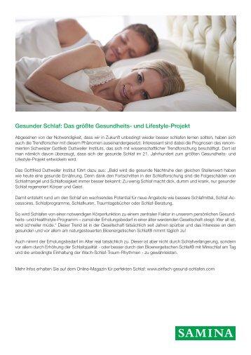SAMINA Beitrag von Schlafpsychologe Dr. med. h.c. Günther W. Amann-Jennson - Gesunder Schlaf: Das größte Gesundheits- und Lifestyle-Projekt
