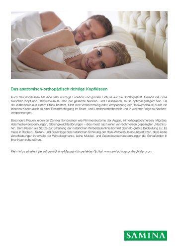 SAMINA Beitrag von Schlafpsychologe Dr. med. h.c. Günther W. Amann-Jennson - Das anatomisch-orthopädisch richtige Kopfkissen