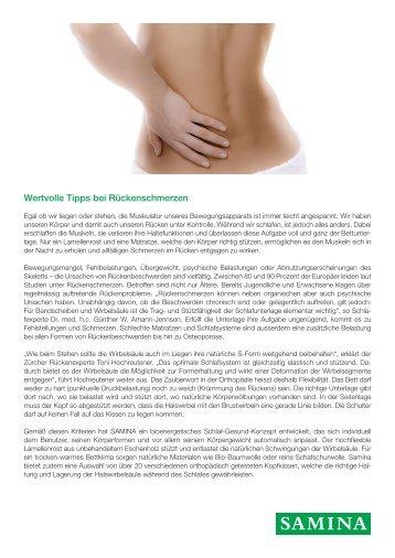 SAMINA Beitrag von Schlafpsychologe Dr. med. h.c. Günther W. Amann-Jennson - Wertvolle Tipps bei Rückenschmerzen