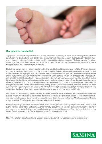 SAMINA Beitrag von Schlafpsychologe Dr. med. h.c. Günther W. Amann-Jennson - Der gestörte Hotelschlaf