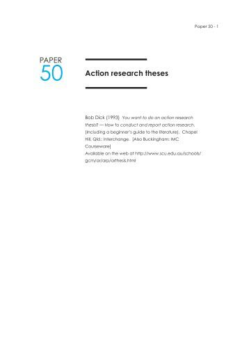 Action research theses PAPER - Action research resources