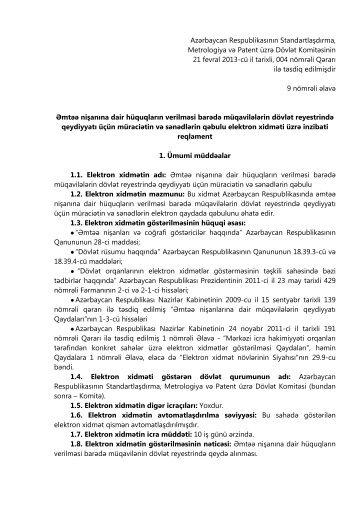 İnzibati reqlament - Standartlaşdırma, Metrologiya və Patent üzrə ...