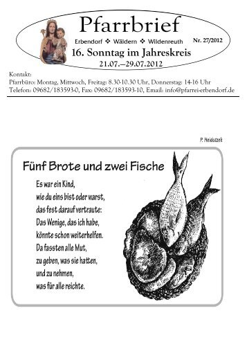 16. Sonntag im Jahreskreis - Pfarrei Erbendorf