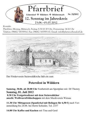 12. Sonntag im Jahreskreis - Pfarrei Erbendorf