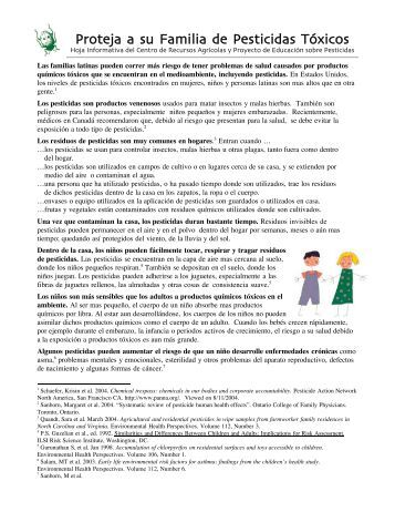 Proteja a su Familia de Pesticidas Tóxicos - Toxic Free NC