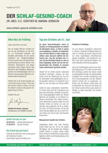DER SCHLAF-GESUND-COACH | Ausgabe Juni