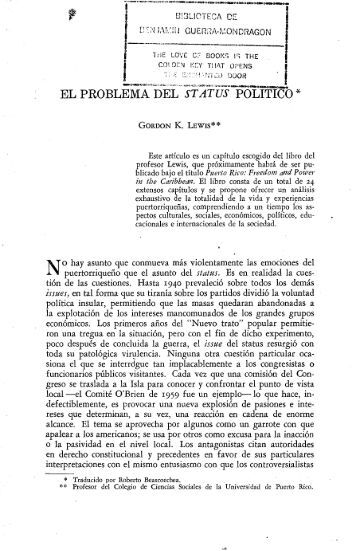 el problema del status politico - Revista de Ciencias Sociales