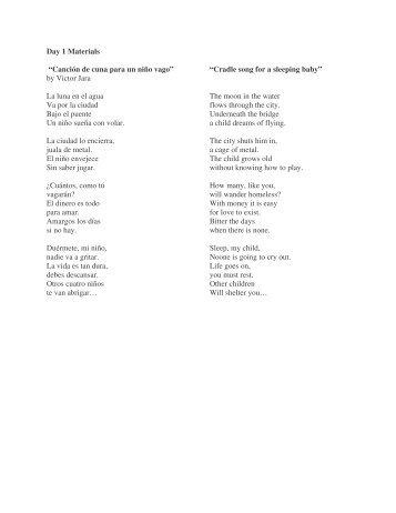 "Day 1 Materials ""Canción de cuna para un niño ... - MusicUnitesUS"
