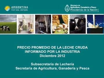 PRECIO PROMEDIO DE LA LECHE CRUDA INFORMADO POR LA ...