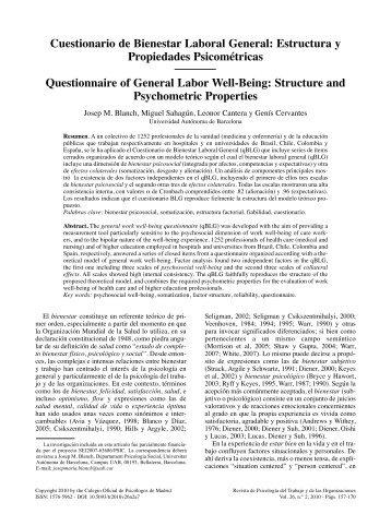 Cuestionario de Bienestar Laboral General: Estructura y ...