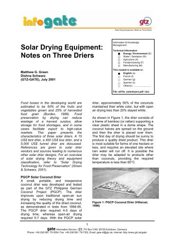 Solar Drying Equipment: Notes on Three Driers - GATE International ...