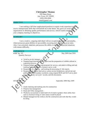 quantity surveyor resume example httpresumesdesigncomquantity ...