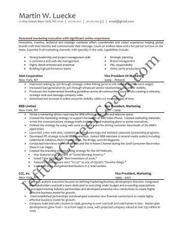 Sample Marketing Pr Resume
