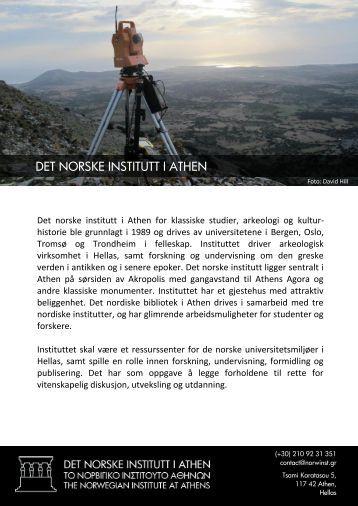 DET NORSKE INSTITUTT I ATHEN
