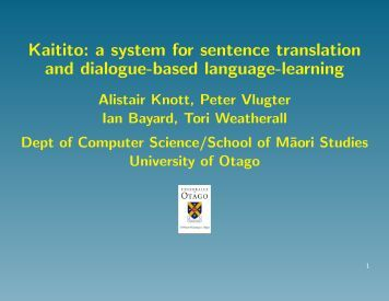 Kaitito - Department of Computer Science - University of Otago