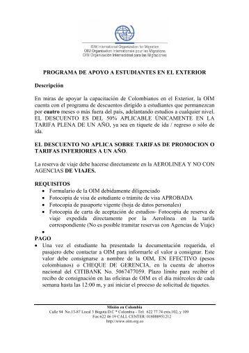 PROGRAMA DE APOYO A ESTUDIANTES EN EL ... - OIM Colombia