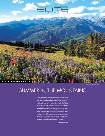 SUMMER IN THE MOUNTAINS - Elite Traveler