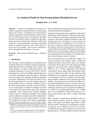 An Analytical Model for Shot-Peening Induced ... - TechScience