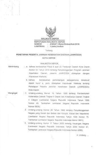 keputusan walikota depok no.410 thn 2010 tentang penetapan ...