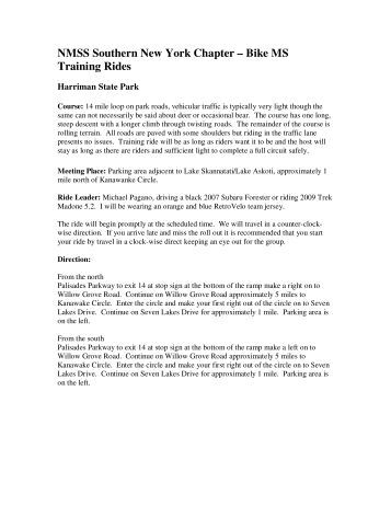 NMSS Southern New York Chapter – Bike MS Training Rides