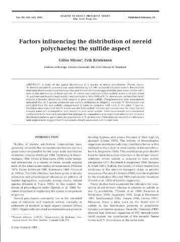 Factors influencing the distribution of nereid ...  - Inter Research