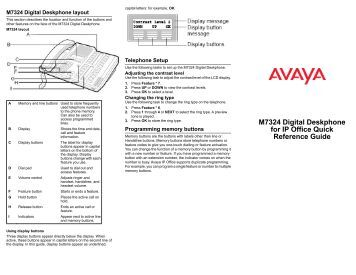 avaya 1120e quick reference guide
